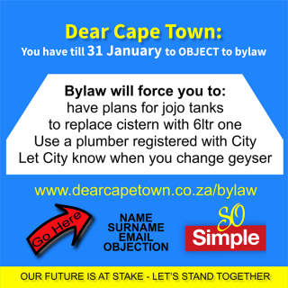 27024167_322712684914460_7377450418272680510_o  DEAR CAPE TOWN – Please Have your say. ACT NOW  – after 31 January 2018 you are … 27024167 322712684914460 7377450418272680510 o 320x320
