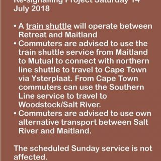 37196190_2558544060837831_3104481629465214976_o  SERVICE ALERT  #CapeFlatsLineCT  #BeTrainSmart Scheduled re-signalling work. Sat… 37196190 2558544060837831 3104481629465214976 o 320x320