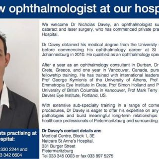 Netcare St Anne's Hospital welcomes ophthalmologist Dr Nicholas Davey. 37775210 1891576250863502 2927974055740964864 o 320x320