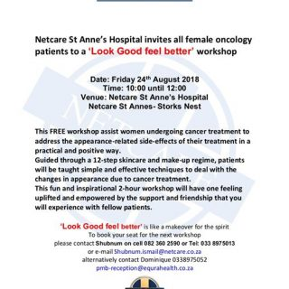 Netcare St Anne's Hospital invites all female oncology patients to a look good f… 37970987 1898770730144054 821666465366147072 o 320x320