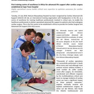 Netcare Blaauwberg Hospital: First training center of excellence in Africa for a… 37981943 1900507696637024 7838312261478252544 o 320x320