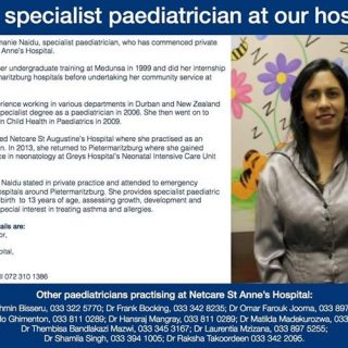 Netcare St Anne's Hospital welcomes Specialist Paediatrician Dr Sharmanie Naidu. 38003763 1898761656811628 4965391238271336448 o 320x320