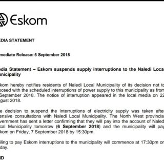 #EskomLimpopo #Media_Statement: Eskom suspends supply interruptions to the Naled… 41015335 2400512096642187 3243234726965673984 n 320x320
