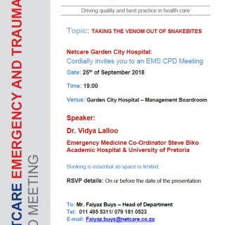 CPD Invitation: Netcare Garden City Hospital Topic: TAKING THE VENOM OUT OF SNAK… 41229869 1957398774281249 3398395578789396480 n 320x320