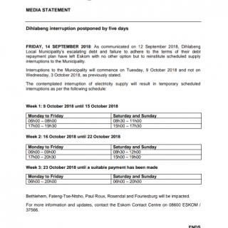 #EskomFreeState #MediaStatement : Dihlabeng interruption postponed by five days … 41661539 2412760145417382 6900882687884525568 o 320x320