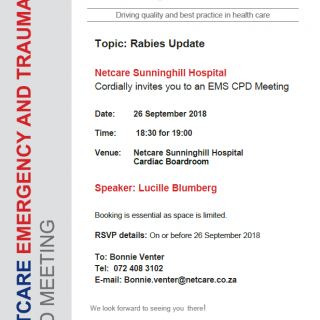 CPD Meeting Invitation: Netcare Sunninghill Hospital Topic: Rabies Update 41665337 1964259196928540 5684945582024556544 n 320x320