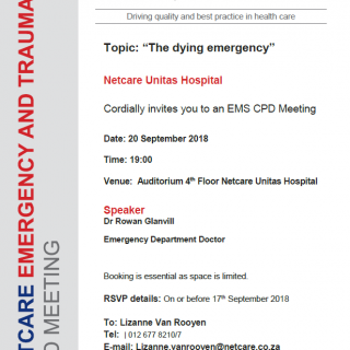 """CPD Invitation: Netcare Unitas Hospital Topic: """"The dying emergency"""" 41666423 1964257003595426 2089886714926465024 n 320x320"""