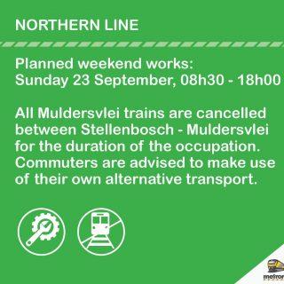 #NorthernLineCT – Planned Weekend Works between Stellenbosch and Muldersvlei).  … 42361359 2711648968860672 2069218194131779584 o 320x320