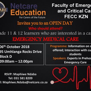 Netcare Education Faculty of Emergency and Critical Care FECC KZN invites you to… 42631140 1979522435402216 1207376261081464832 o 320x320