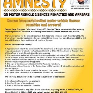 EC motorists to receive amnesty on motor vehicle license penalties and arrears. … 42877318 1886593824756066 3917877890489778176 n 320x320