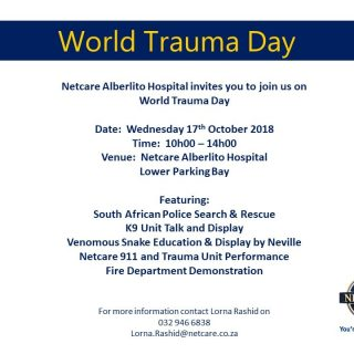 Netcare Alberlito Hospital invites you to join us on World Trauma Day, tomorrow … 44098186 2004306726257120 3195184767456772096 n 320x320