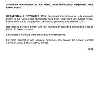 #EskomNorthernCape #MediaStatement : Scheduled interruptions to Kai Garib Local … 45549851 2496150990411630 9128100513949155328 o 320x320