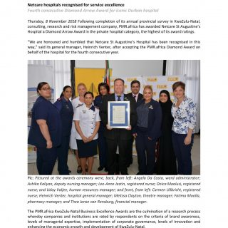 Netcare St Augustine's Hospital recognized for service excellence. 45671275 2037825102905282 5118246521585795072 o 320x320
