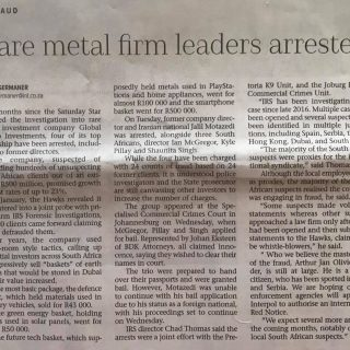 Today's Saturday Star regarding the arrest of suspects in the R500 million … 45808242 2185920038106058 5099099299682189312 o 320x320
