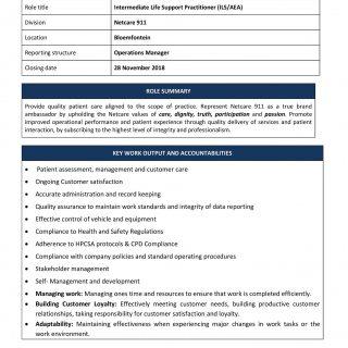 Vacancy: Intermediate Life Support Practitioner (ILS/ALS) Netcare 911 Bloemfonte… 46507253 2054817081206084 61720681498279936 o 320x320