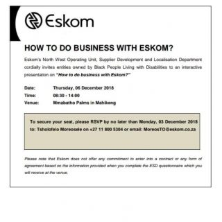 "#EskomNorthWest to conduct an interactive presentation session on ""How to do bus… 46966528 2531068096919919 7498962742187917312 n 320x320"