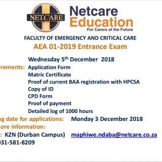 Netcare Education Faculty of Emergency and Critical Care FECC KZN AEA 01-2019 En… 47062147 2067998879887904 7322961175740678144 o 320x320
