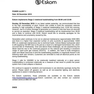#POWERALERT 1 Eskom implements Stage 2 rotational loadshedding from 08:00 until … 47168821 2535916916435037 1950597047161716736 o 320x320