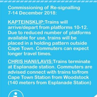 #CentralLineCT : Platform 13 – 23 at Cape Town Station will be closed after 22h0… 47353366 2865109436847957 4649667376298590208 n 320x320