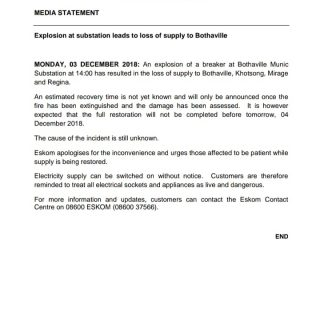 #Eskom_MediaStatement : Explosion at substation leads to loss of supply to Botha… 47396500 2538108386215890 3610382799309111296 o 320x320