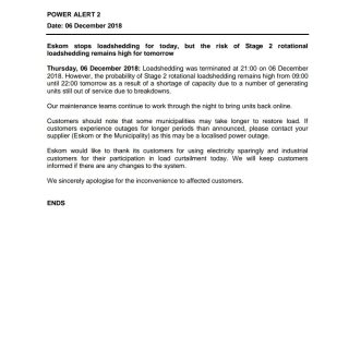 #POWERALERT 2  Eskom stops loadshedding for today, but the risk of Stage 2 rotat… 47580734 2543663432327052 3520989076587020288 o 320x320
