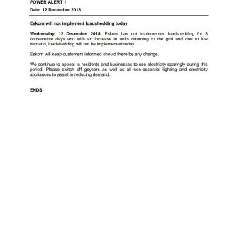 #POWERALERT 1  Eskom will not implement loadshedding today 47689341 2552882064738522 8940481082441072640 o 320x320