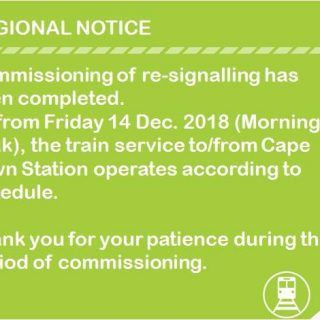 Regional #ServiceAdvisory :  Commissioning of re-signalling at Cape Town Station… 48145191 2884317114927189 8755697076672659456 n 320x320