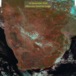 Afternoon satellite image (14 December 2018) – Isolated thundershowers observed … 48172380 930915517111772 7256223388325117952 n 320x320