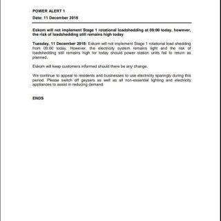 #PowerAlert 1: #Eskom will not implement Stage 1 rotational #loadshedding at 09:… 48254022 2551088084917920 2775217917451567104 n 320x320