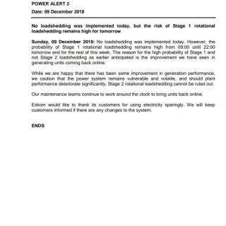 #POWERALERT 2  No loadshedding was implemented today, but the risk of Stage 1 ro… 48368900 2548670255159703 3699318425114378240 o 320x320