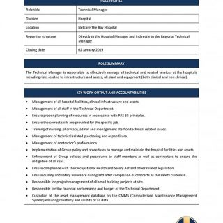 Vacancy: Technical Manager Netcare The Bay Hospital. 48389208 2091644107523381 8062976550418513920 n 320x320