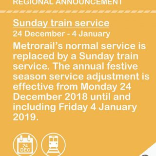 Regional Announcement  Metrorail's normal train service is replaced by a Sunday … 49017801 2912098405482393 3333932083931250688 o 320x320