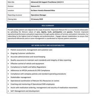 Vacancy: Advanced Life Support Practitioner (ALS) X3 Netcare 911 De Beers Veneti… 49845051 2130679603619831 5887126047882739712 n 320x320