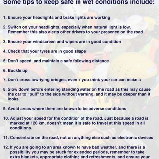 Some tips to keep safe while driving in wet conditions include. www.aa.co.za 49852097 2121876061166852 8375220565463531520 o 320x320