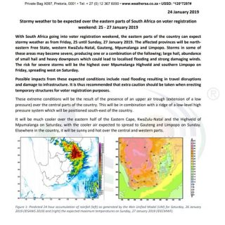 Media Release: Stormy weather to be expected over the eastern parts of South Afr… 50634398 954754064727917 7226835903530926080 n 320x320