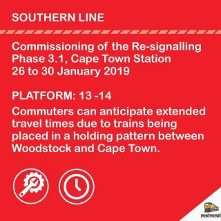 Commissioning Works have commenced at Cape Town Station. Note Platform changes … 51280335 2980192818672951 6470394026997579776 o 320x320