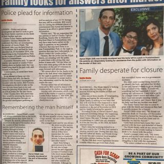 Thank you Randburg Sun for the full page coverage of the murder of Aaron Elijah…. 51680004 2312682455429815 4674073253080203264 o 320x320