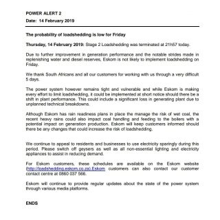 #POWERALERT 2  Date: 14 February 2019  The probability of loadshedding is low fo… 52341882 2664447300248664 528400837060329472 o 320x320