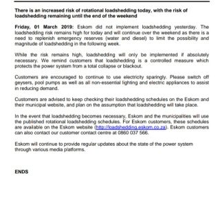 #PowerAlert 1. Friday, 1 March 2019.  There is an increased risk of rotational l… 53292201 2691015420925185 917961126791086080 o 320x320