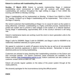 #POWERALERT 1  Date: 17 March 2019  Eskom to continue with loadshedding this wee… 54432594 2716350185058375 6524650424702599168 o 320x320