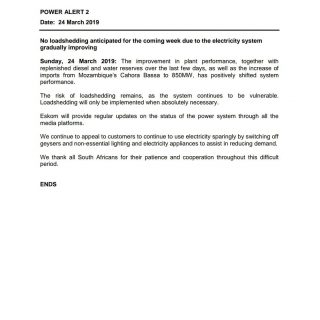 #POWER ALERT 2  Date: 24 March 2019  No loadshedding anticipated for the coming … 54730489 2727886987238028 8051420515706863616 o 320x320
