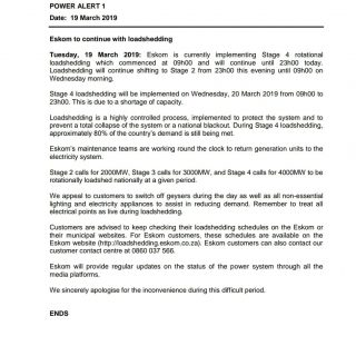 #POWERALERT 1  Date:  19 March 2019  Eskom to continue with loadshedding 55474799 2719701698056557 4770983778455650304 o 320x320