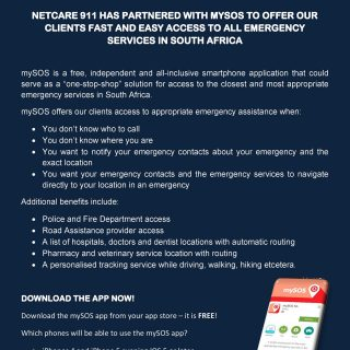 Netcare 911 has partnered with mySOS to offer fast and easy access to all emerge… 56226101 2240721185949005 7642961948966912000 o 320x320