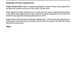 #Eskom_MediaStatement : Resignation of #Eskom spokesperson @KhuluPhasiwe 56407401 2747930221900371 5054087647283118080 n 320x320