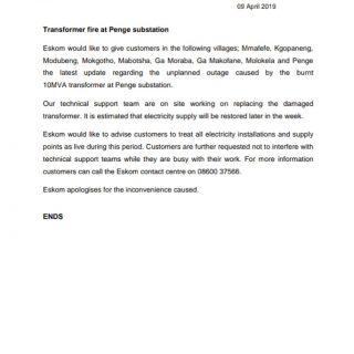 #EskomLimpopo #MediaStatement : Transformer fire at Penge substation 56560681 2754986647861395 5134486810839220224 o 320x320