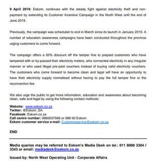 #EskomNorthWest #MediaStatement : Eskom North West extends its Come Clean Campai… 56800825 2755052581188135 8568575951565225984 n 320x320