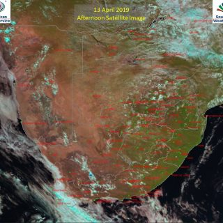 Afternoon satellite image (13 April 2019) – Cloudy over the south-western parts … 57010190 999237020279621 4655958244961812480 o 320x320