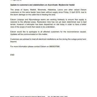 #EskomMOU #Media Statement   11 April 2019  Update to customers and stakeholders… 57154141 2758728580820535 4397144353223475200 o 320x320