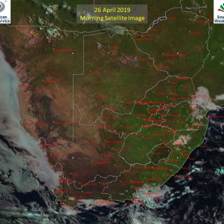Morning satellite image (26 April 2019) – Sunny conditions over most of South Af… 58379032 1006559909547332 2452504417111375872 o 320x320