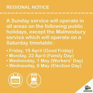 #RegionalAnnouncement: A Sunday train service will operate on Public Holiday: W… 58673956 3206632816028949 7582482263909072896 o 320x320